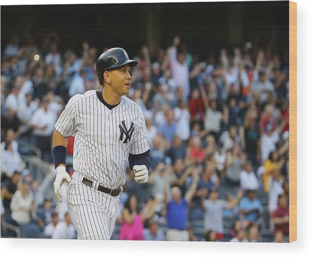Three Quarter Length Wood Print featuring the photograph Alex Rodriguez and Justin Verlander by Al Bello