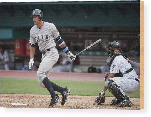 American League Baseball Wood Print featuring the photograph Alex Rodriguez by Ronald C. Modra/sports Imagery