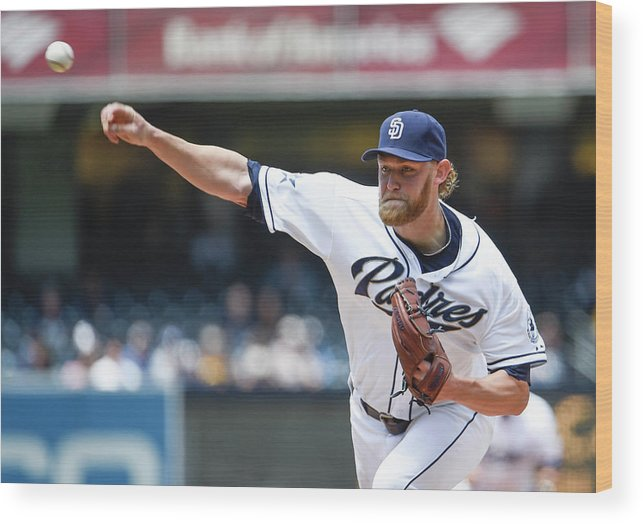 American League Baseball Wood Print featuring the photograph Andrew Cashner by Denis Poroy