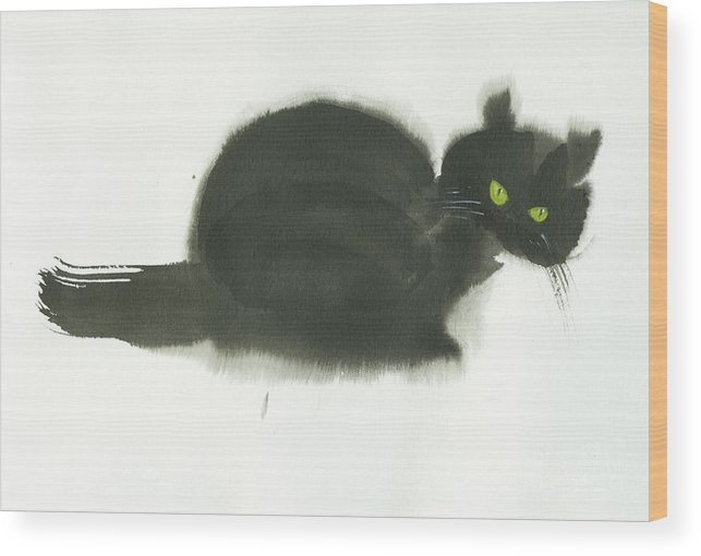 An Angry Cat With Green Eyes. This Is A Simple Contemporary Chinese Brush Painting On Rice Paper. Wood Print featuring the painting Angry Cat by Mui-Joo Wee