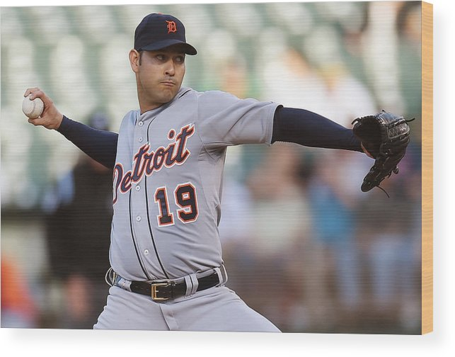 American League Baseball Wood Print featuring the photograph Anibal Sanchez by Thearon W. Henderson