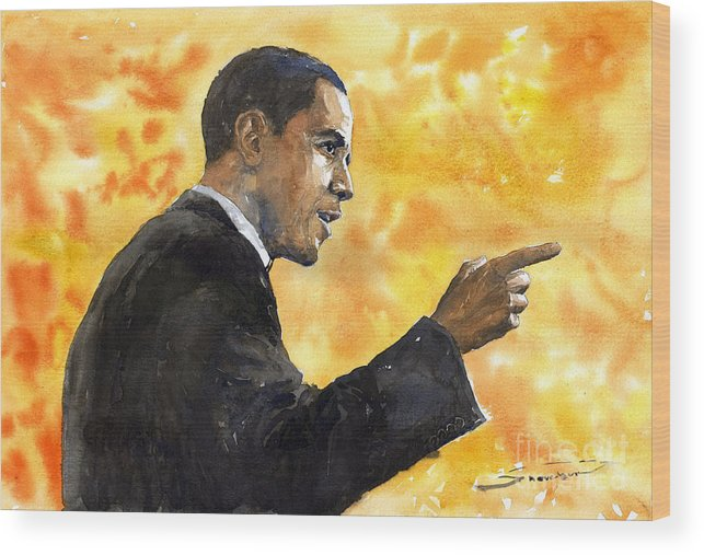 Watercolour Wood Print featuring the painting Barack Obama 02 by Yuriy Shevchuk