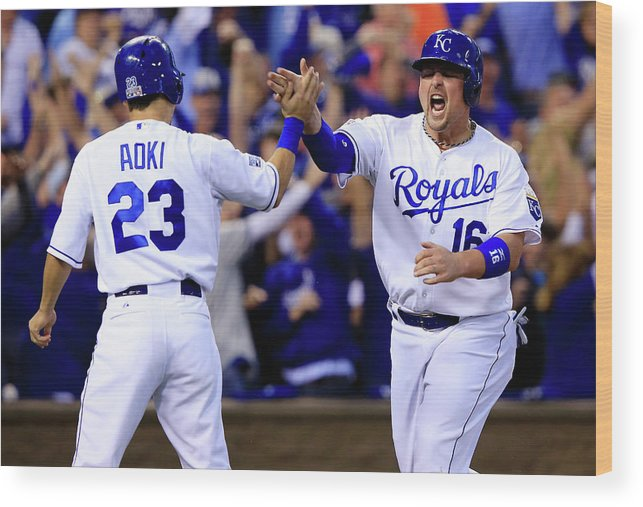 American League Baseball Wood Print featuring the photograph Billy Butler and Alcides Escobar by Jamie Squire