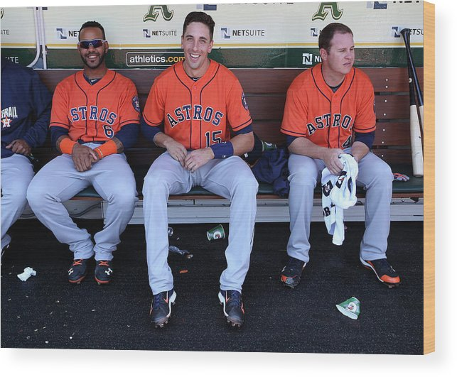 American League Baseball Wood Print featuring the photograph Brad Peacock, Jason Castro, and Jonathan Villar by Brad Mangin