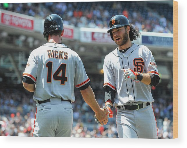 Second Inning Wood Print featuring the photograph Brandon Hicks and Brandon Crawford by Denis Poroy