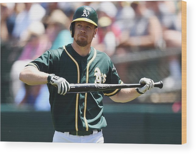 American League Baseball Wood Print featuring the photograph Brandon Moss by Thearon W. Henderson
