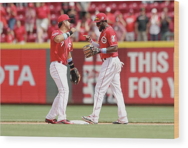 Great American Ball Park Wood Print featuring the photograph Brandon Phillips and Eugenio Suarez by Andy Lyons