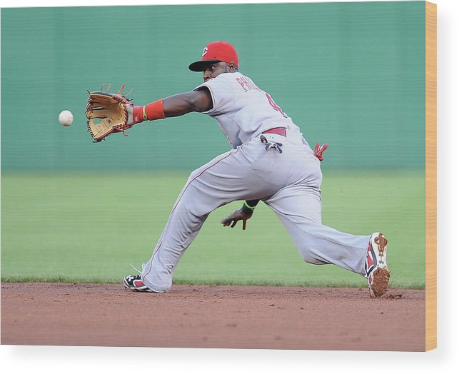 Second Inning Wood Print featuring the photograph Brandon Phillips and Ike Davis by Joe Sargent
