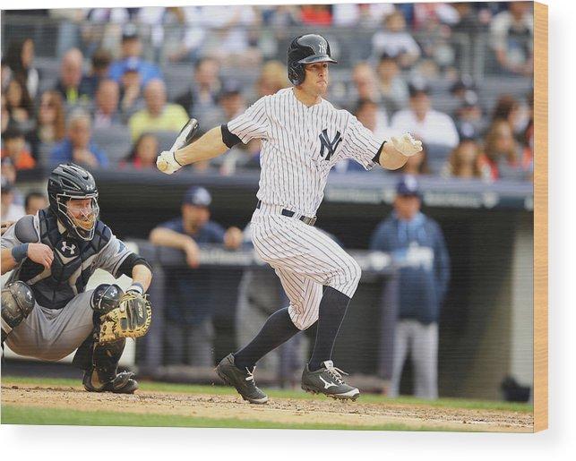 American League Baseball Wood Print featuring the photograph Brett Gardner by Al Bello