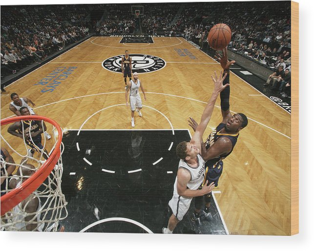 Nba Pro Basketball Wood Print featuring the photograph Brook Lopez and Roy Hibbert by Nathaniel S. Butler