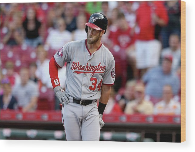 Great American Ball Park Wood Print featuring the photograph Bryce Harper by Andy Lyons