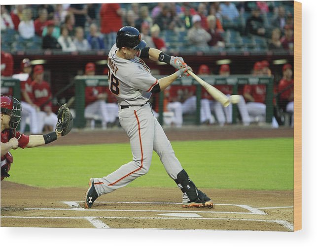 American League Baseball Wood Print featuring the photograph Buster Posey by Ralph Freso
