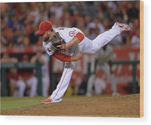 Ninth Inning Wood Print featuring the photograph Cam Bedrosian by Kevork Djansezian