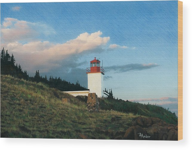 Lighthouse Wood Print featuring the drawing Cape D'Or by Brent Ander