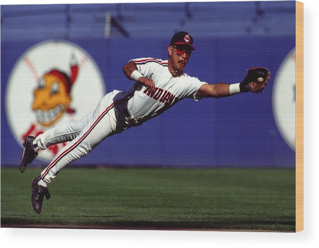 American League Baseball Wood Print featuring the photograph Carlos Baerga by Ronald C. Modra/sports Imagery