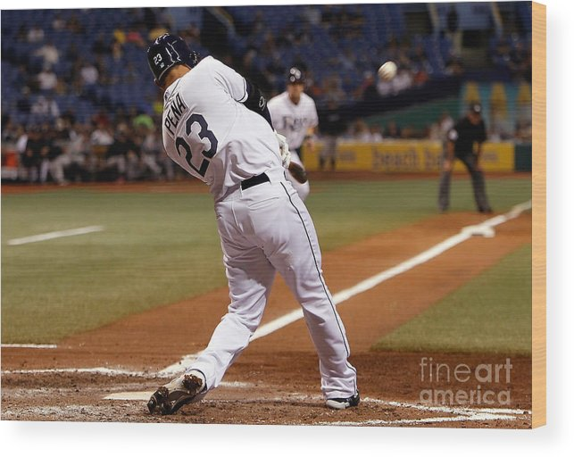 American League Baseball Wood Print featuring the photograph Carlos Pena by J. Meric