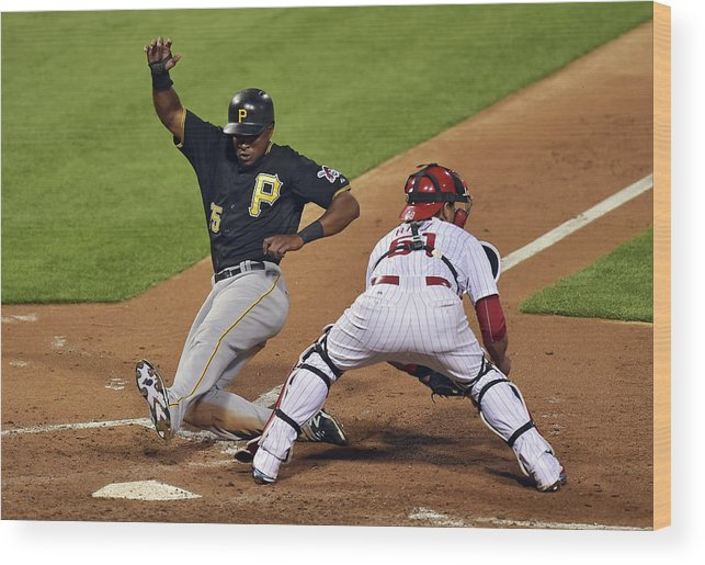 People Wood Print featuring the photograph Carlos Ruiz and Gregory Polanco by Drew Hallowell