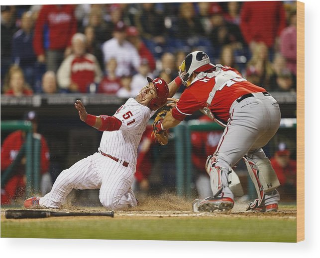 Baseball Catcher Wood Print featuring the photograph Carlos Ruiz, Wilson Ramos, and Odubel Herrera by Rich Schultz