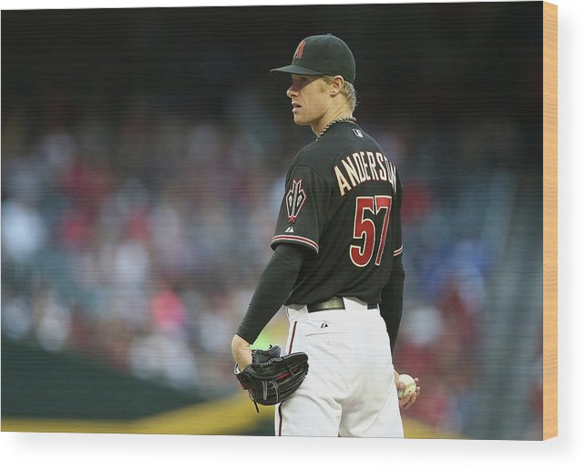 Baseball Pitcher Wood Print featuring the photograph Chase Anderson by Christian Petersen