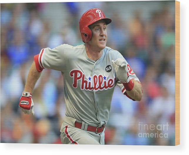 Three Quarter Length Wood Print featuring the photograph Chase Utley by John Konstantaras