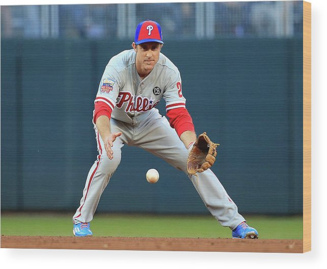 American League Baseball Wood Print featuring the photograph Chase Utley by Rob Carr