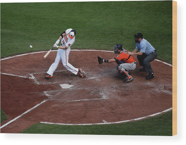Baseball Catcher Wood Print featuring the photograph Chris Davis And Jason Castro by Rob Carr