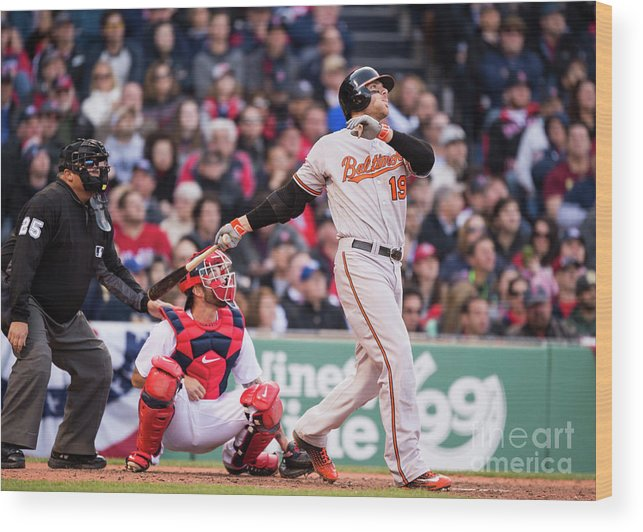 Ninth Inning Wood Print featuring the photograph Chris Davis by Michael Ivins/boston Red Sox