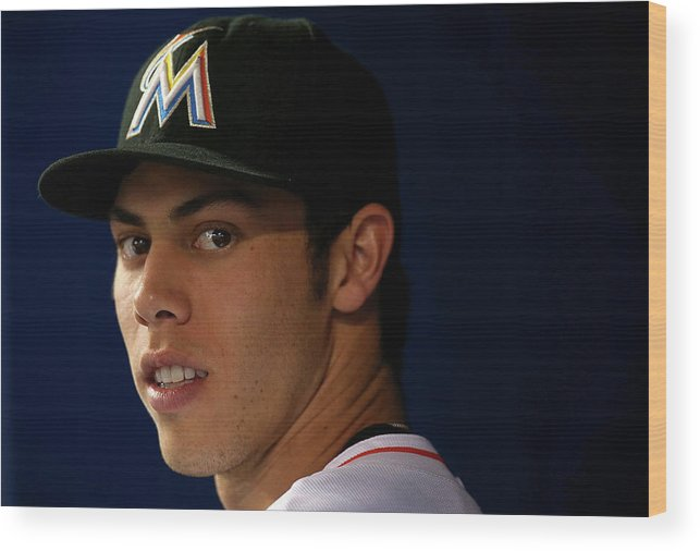 American League Baseball Wood Print featuring the photograph Christian Yelich by Mike Ehrmann