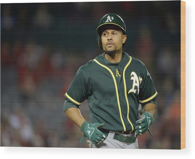 American League Baseball Wood Print featuring the photograph Coco Crisp by Harry How