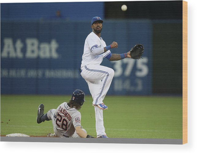 Double Play Wood Print featuring the photograph Colby Rasmus and Jose Reyes by Tom Szczerbowski