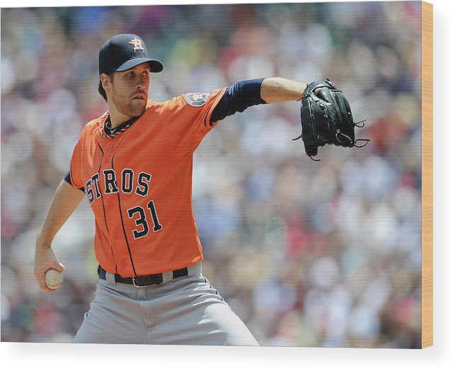 American League Baseball Wood Print featuring the photograph Collin Mchugh by Hannah Foslien