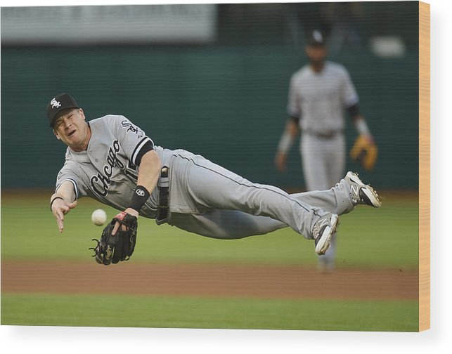 American League Baseball Wood Print featuring the photograph Craig Gentry and Gordon Beckham by Thearon W. Henderson