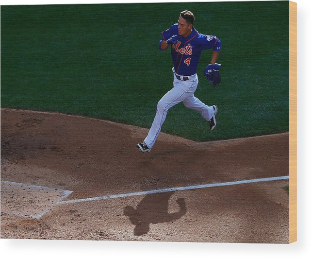 Game Two Wood Print featuring the photograph Daisuke Matsuzaka and Wilmer Flores by Mike Stobe