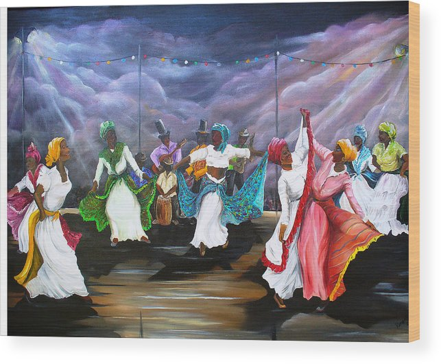 Caribbean Painting Original Painting Folklore Dance Painting Trinidad And Tobago Painting Dance Painting Tropical Painting Wood Print featuring the painting Dance The Pique by Karin Dawn Kelshall- Best