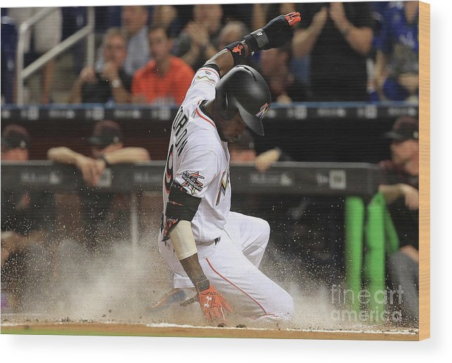 People Wood Print featuring the photograph Dee Gordon and Giancarlo Stanton by Mike Ehrmann