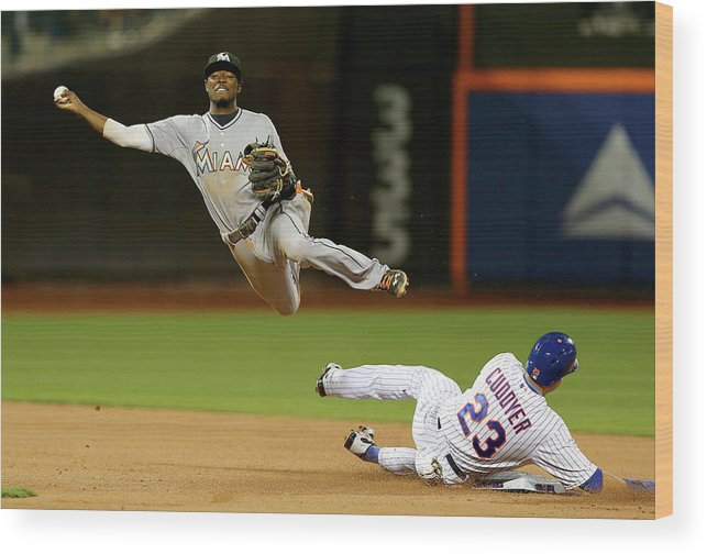 Double Play Wood Print featuring the photograph Dee Gordon and Michael Cuddyer by Elsa