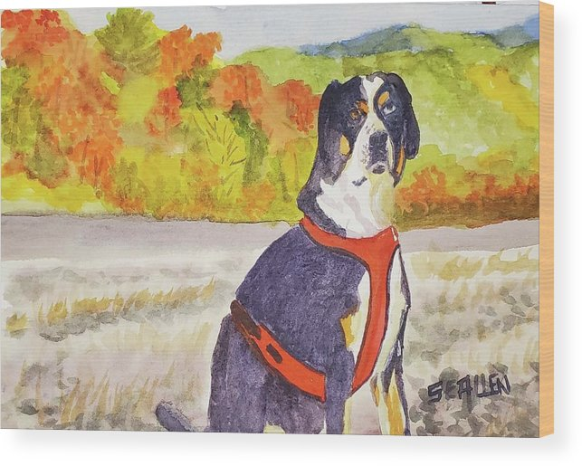 Dog Wood Print featuring the painting Delilah by Sharon E Allen