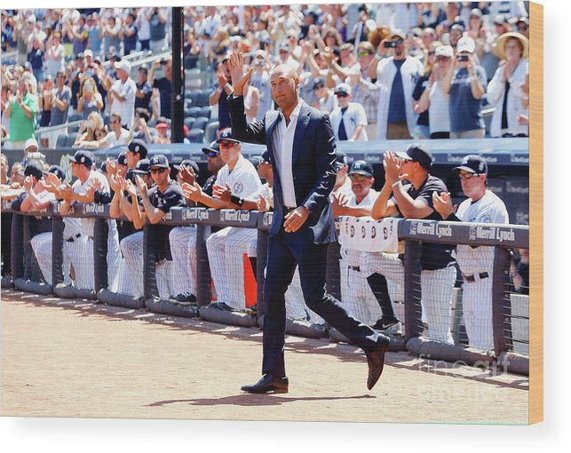 People Wood Print featuring the photograph Derek Jeter and Jorge Posada by Jim Mcisaac