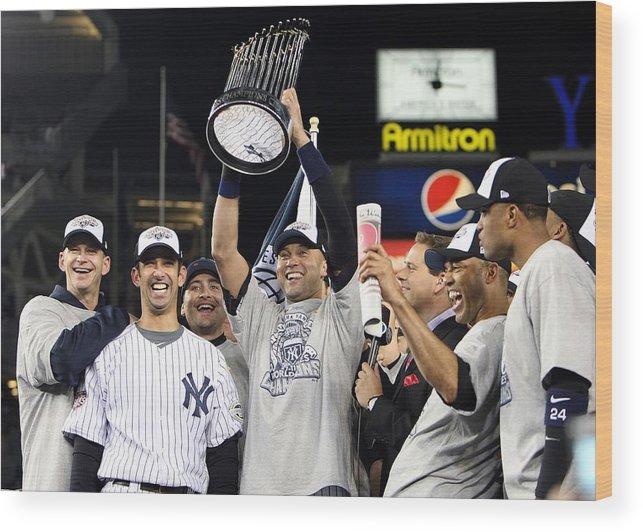 American League Baseball Wood Print featuring the photograph Derek Jeter, Mariano Rivera, and Jorge Posada by Jed Jacobsohn