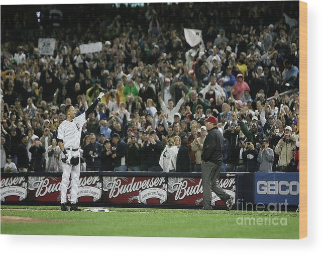 People Wood Print featuring the photograph Derek Jeter by Mike Ehrmann