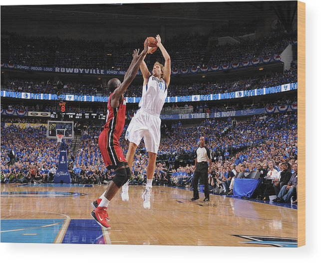 Playoffs Wood Print featuring the photograph Dirk Nowitzki and Joel Anthony by Andrew D. Bernstein