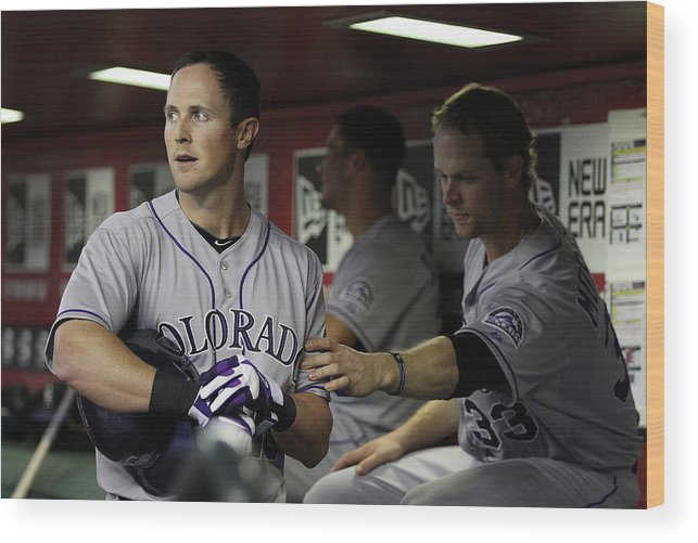Ninth Inning Wood Print featuring the photograph Drew Stubbs and Justin Morneau by Christian Petersen