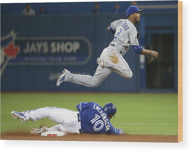 Double Play Wood Print featuring the photograph Edwin Encarnacion and Alcides Escobar by Tom Szczerbowski