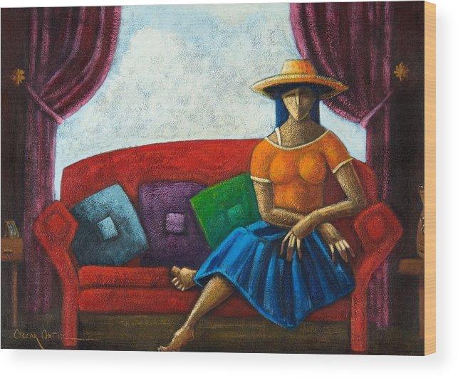Puerto Rico Wood Print featuring the painting El Ultimo Romance Del Verano by Oscar Ortiz