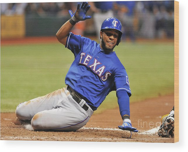 American League Baseball Wood Print featuring the photograph Elvis Andrus by Al Messerschmidt
