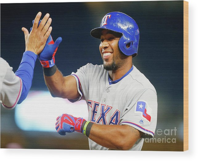 Ninth Inning Wood Print featuring the photograph Elvis Andrus by Jim Mcisaac
