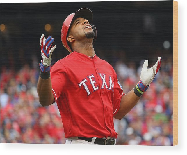 Game Two Wood Print featuring the photograph Elvis Andrus by Scott Halleran