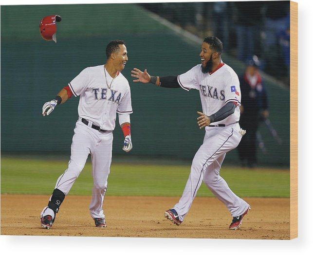 Ninth Inning Wood Print featuring the photograph Elvis Andrus by Tom Pennington