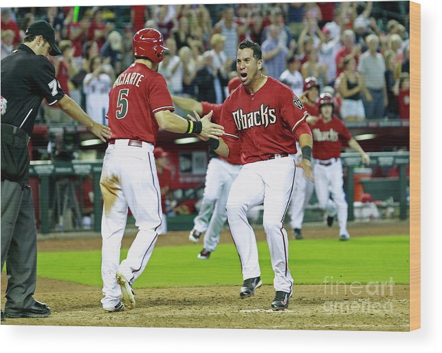 American League Baseball Wood Print featuring the photograph Ender Inciarte, David Peralta, and Paul Goldschmidt by Ralph Freso