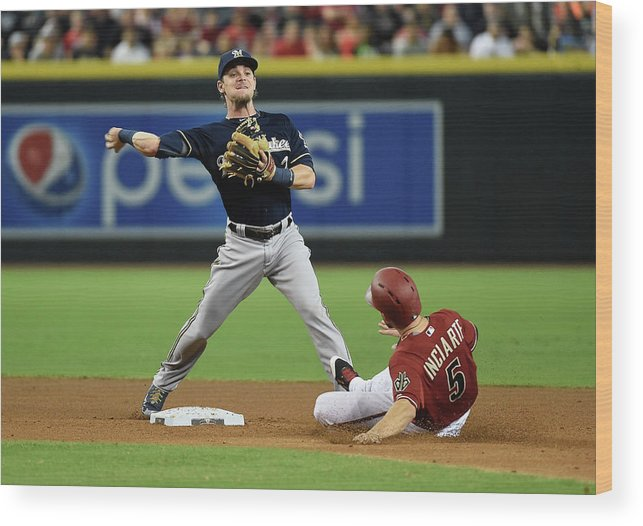 Double Play Wood Print featuring the photograph Ender Inciarte by Norm Hall